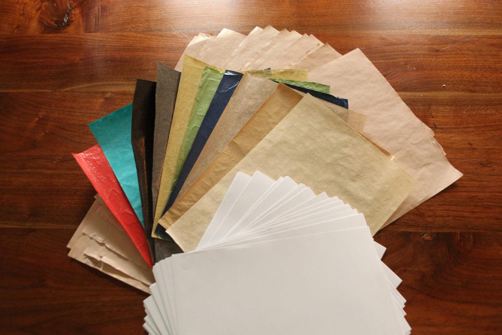 différents types de papier fait main
